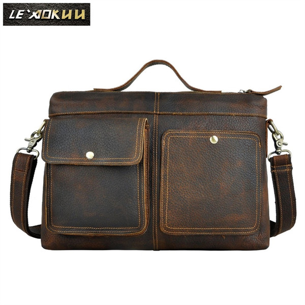 "Le'aokuu Men Real Leather Antique Style Black Briefcase Business 13"" Laptop Cases Attache Messenger Bags Portfolio 2119 #251443"