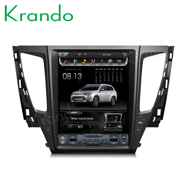 "Krando Android 8.1 12.1"" tesla style Vertical screen car dvd radio for Mitsubishi pajero 2017+ gps navigation multimedia player KD-MP172"