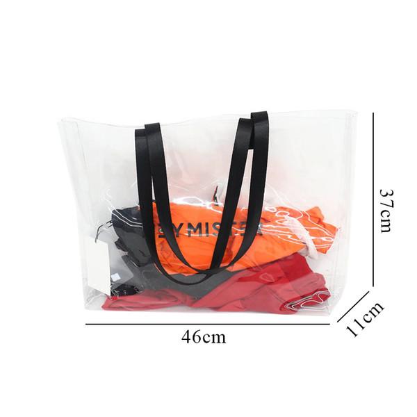 2019 New Transparent Plastic Pvc Jelly Shoulder Bag Women Large Capacity Beach Bag Fashion Girls Handbag