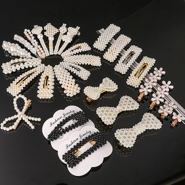 best selling Cute Woman Design Pearls Hairpins Creative Girl Hair Clips Baby Barrettes Lady Party Hair Jewelry Accessories Gift mixed sent