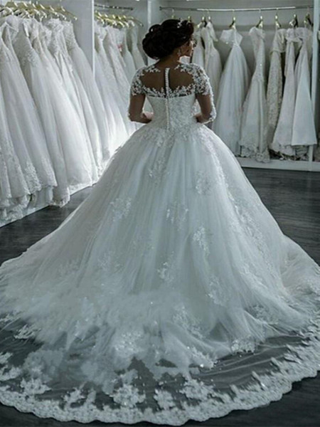 Long Sleeves A-line Wedding Dresses Sheer Crew Neck Lace Appliques Beaded Vestios De Novia Bridal Gowns with Buttons