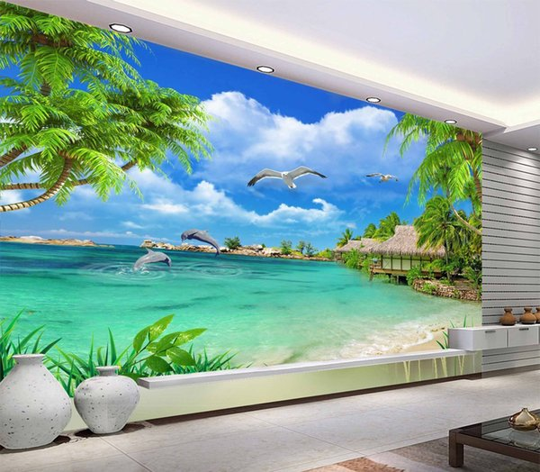 Wallpaper 3D HD Coconut Tree Beautiful Sea Scenery Living Room Bedroom  Background Wall Decoration Mural Wallpaper Desktop Wallpaper High  Resolution