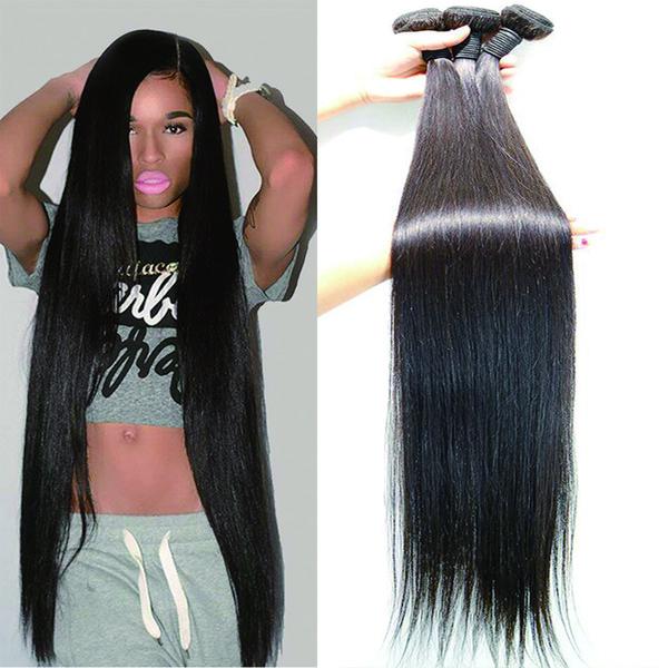 Malezya Saç Demetleri Doğal Renk% 100% İnsan Saç Dokuma Bundles30-40 inç Remy Saç Uzatma 3/4 Parça
