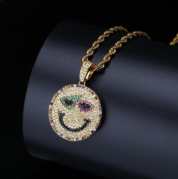 ICED OUT CZ BLING Colorful EMOJI SMILEY FACE PENDANT NECKLACE MENS Micro Pave Cubic Zirconia Simulated Diamonds Necklace