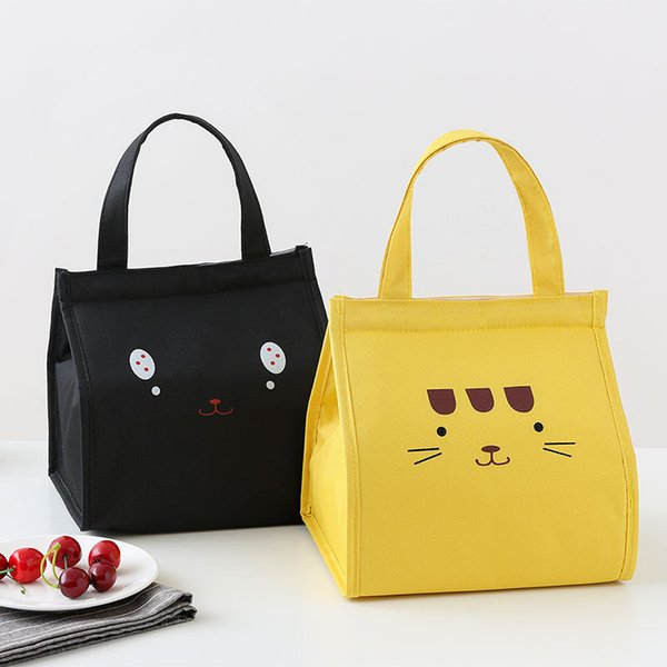 2019 New Cat lunch hot food bag Cartón tote food box estudiante termal lunch bag