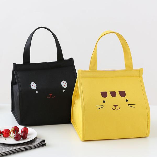 2019 New Cat lunch hot food bag Carton fourre-tout alimentaire étudiant sac à lunch thermique