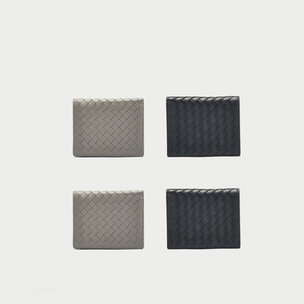 Art2019 Weave Classic Short Fold Кошелек из овчины с вертикальным сечением из натуральной кожи Hand Take Package