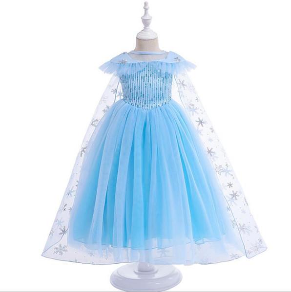 Baby Girl Cartoon Snow Princess Dress para niñas Summer Lentejuelas Ropa Niños Cosplay Queen Costume Halloween Christmas Party With Cloak 3-8Y