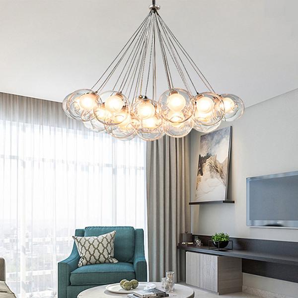 Acheter Lustre Moderne Led Salon Suspendu Lumieres Maison Deco Eclairage Salle A Manger Luminaires Nordique Chambre Lampe Pendentif Boule De Verre De