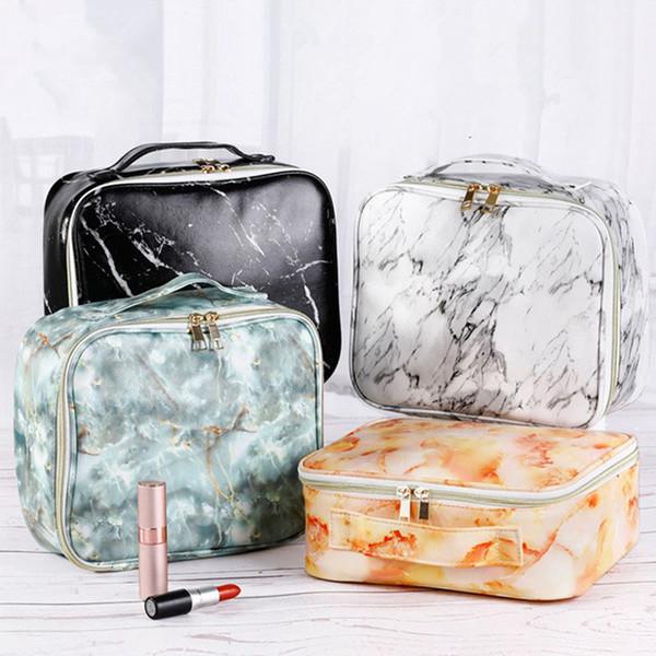 Marmorização Maquiagem Cosméticos Saco Com Zíper Moda Viagem Poratble Wash Bags Bolsa PU Multi-Função Sacos De Armazenamento 8 estilos RRA1690