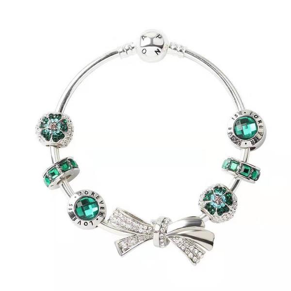 18-20mm925 Pandora Bow Bracelet Pandora personnalité verte Cuff bijoux à la mode cadeau Big Hole Perle Bracelet Saint Valentin cadeau