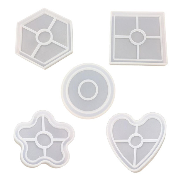 DIY Crystal Silicone 5 Hexagonal Squares Faceplate Bottom Seat Coaster Mould Silicone Plum Love Pendant