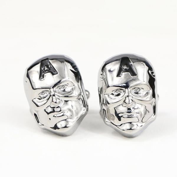 Maske Form Manschettenknöpfe Mens Shirt Tasten Anzug Krawattenklammer Für Männer Taste Manschettenknöpfe Frauen Luxus gemelos spinki do mankietu Silber