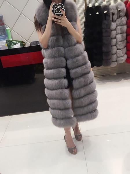 Capa de las mujeres de piel falsa manteau Fausse Fourrure Femme largo caliente 2019 chaleco de piel de lujo con capucha sin mangas del chaleco de Gilet XL240