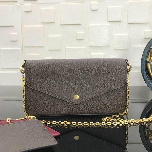 best selling with box brand vintage designer hobo women shoulder bag silver chain bag Tote clutchbag handbag POCHETTE FeLICIE with removable chain M61276