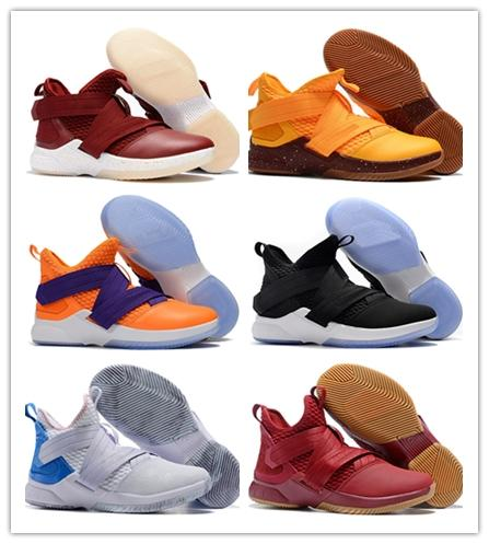 757e2e1967f4 Cheap new lebron soldier 12 basketball shoes Purple Blue Olive Green Black  Bred Snakeskin youth kids