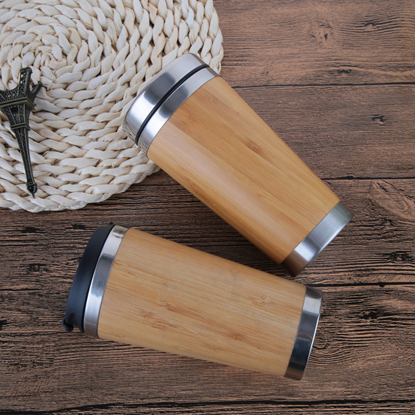 15oz Stainless Steel Bamboo Water Bottle Coffee Mugs 4 Generation Water Bottles 304 Stainless Steel Liner Sports Cups