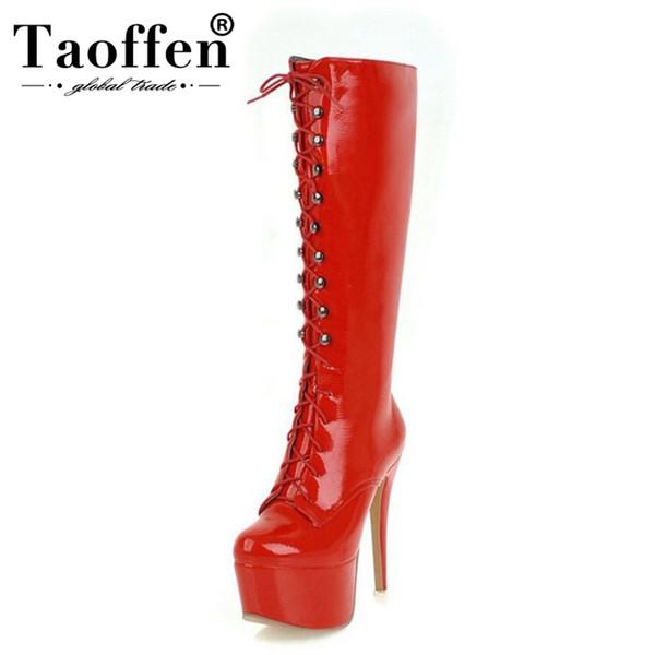 TAOFFEN alti talloni delle donne calza gli stivali di alta piattaforma della pelliccia di inverno Donna Strap Croce Stivali lunga sexy di formato di modo 33-48