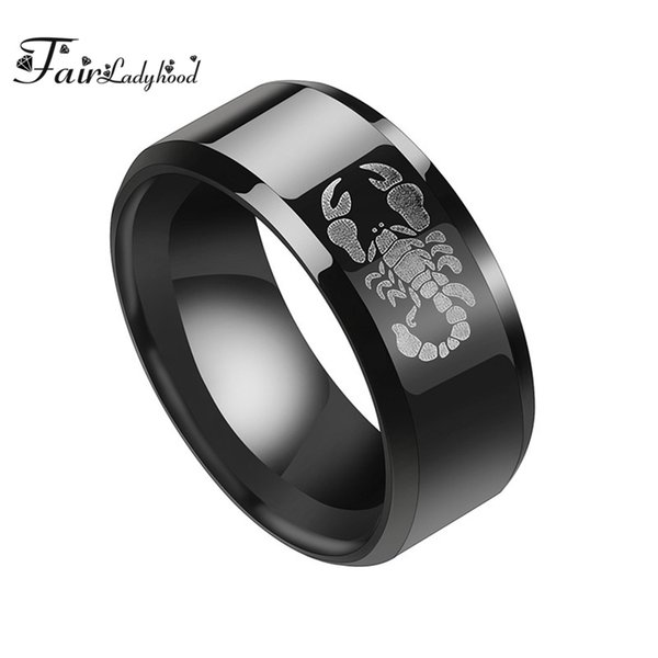 FairLadyHood High Quality 8mm 316L Stainless Steel Scorpion Rings For Men Punk Black Finger Rings Gothic Polished Wedding Bands