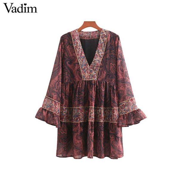 Vadim women vintage V neck floral chiffon dress chains decorate flare sleeve pleated ladies casual mini dresses vestidos QA587 Y19012102