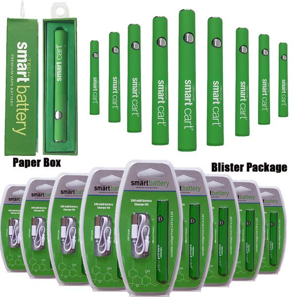 Vape inteligente de la batería 380 Mah Precalentar el precalentamiento VV Variable Voltaje 510 de rosca de la batería Baterías cigarrillos electrónicos con cargador USB para O