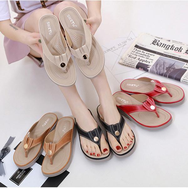 peep toe sandals New Fashion Women Metal Buckle Round Head women sandles Slipper zapatos de verano Flip Flops Sandals Shoes