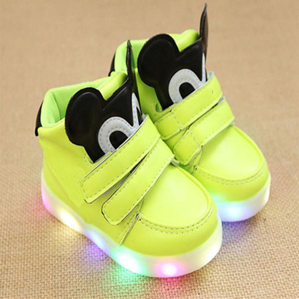 Nova 2018 Europeu legal Primavera / outono brilhante bebê sapatilhas casuais LED iluminado bebê casual shoes glitter bonito crianças sapatos