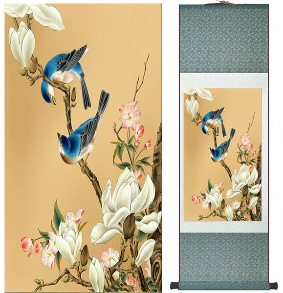 Birds And Flower Painting Home Office Decoration Chinese Scroll Painting Flower Art Chinese Paintingprinted Painting