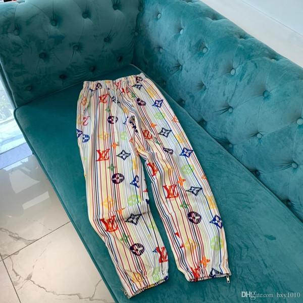 19s Lujoso diseño de la marca de París L Pantalones largos con estampado completo Pantalones Terry Todo el fósforo Moda Hip-hop High Streetwear Cool Sports V pantalones