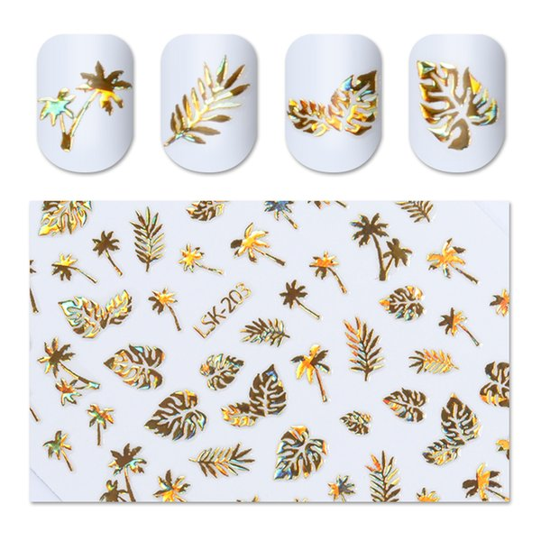 1 Unids Holographic Gold Coconut Tree Leaf Nail Adhesive Adhesive Holo Laser Glue Tips 3D Nail Sticker Manicure Art Decoratio