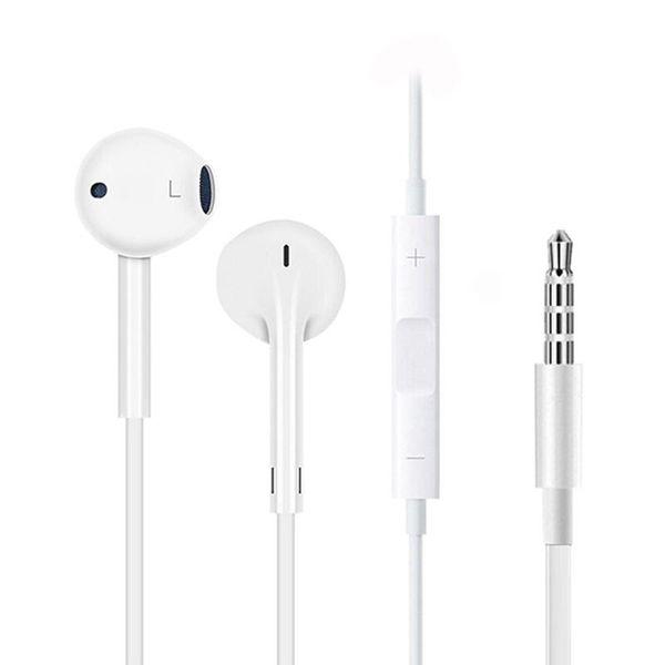 BINYEAE For Apple Wired Earphone White Head Ear Hook Control de volumen Deporte Auricular para iPhone