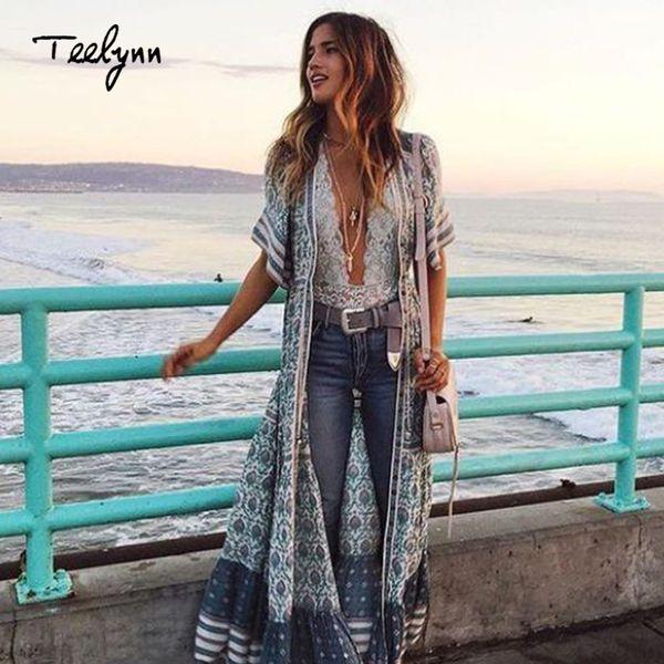 Großhandel Boho langes Kleid 2018 Rayon grün Blumendruck sexy V-Ausschnitt Kurzarm Strand tragen Sommerkleid schicke Frauen Kleid