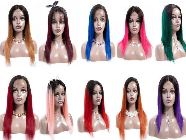 Densité 180% rose perruque perruque rouge droite perruques de cheveux humains perruque bleue de cheveux brésiliens 4 * 4 cheveux avant de lacet perruques