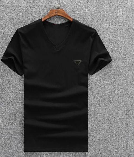2018 Nuevas camisetas de primavera verano para hombre Moda rizada manga corta Slim O-cuello estiramiento Tees