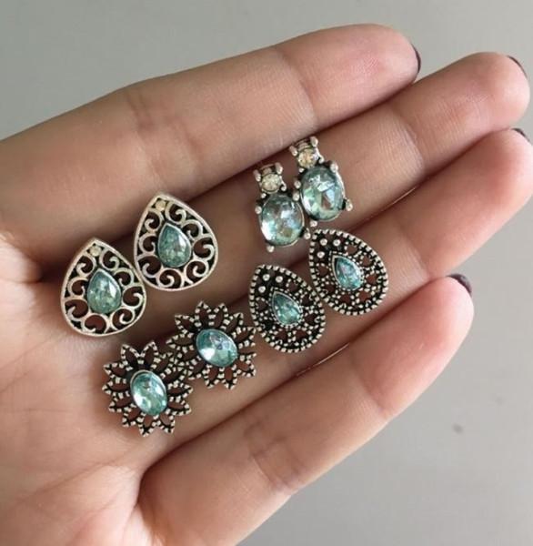 4 unids / set mujeres nuevo encanto belleza pendiente del perno prisionero geométrico hueco oval cristal gema boho piercing conjunto de joyas