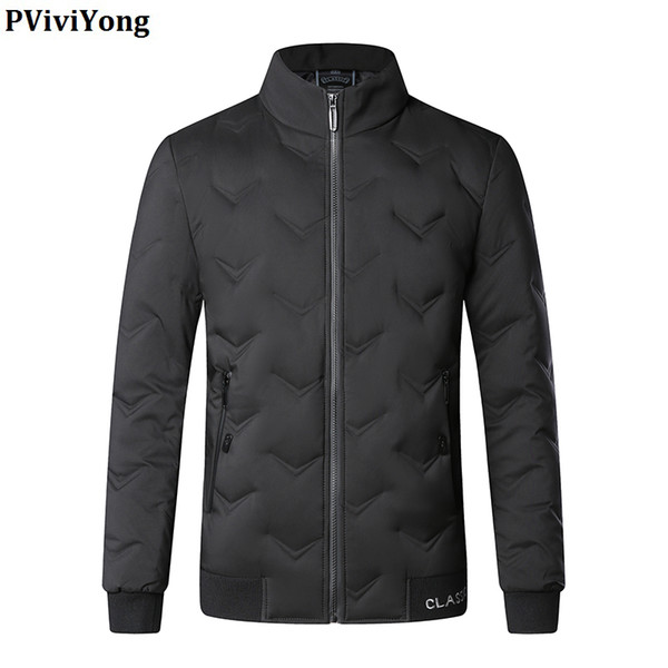 pviviyong 2019 winter new fashion 80% white duck down jacket mandarin collar brief paragraph slim coat men q028ys
