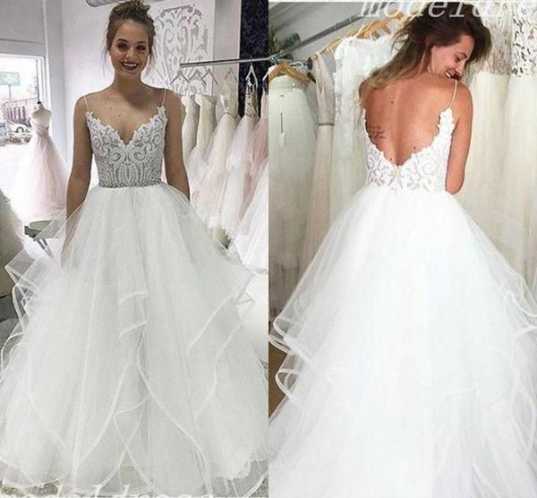 Charming Wedding Dresses Spaghetti Backless Lace Cascading Ruffles Sweep Train Garden Country Beach Bridal Gowns abiti da sposa 2019 Cheap
