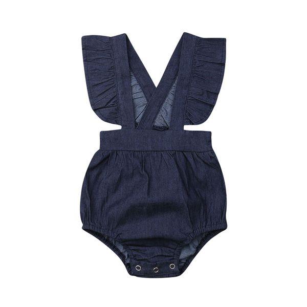 Newborn Baby Girl Clothes 2019 New Summer Blue Denim Bodysuit Fashion Sleeveless Ruffles Jumpsuits One-piece Summer Outfit 0-24M