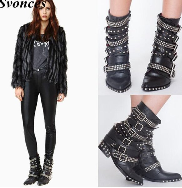 Black Punk Buckle Ankle Boots For Women Studded Straps Hidden Wedge Heel Motorcycle Boots Shoes Women Zapatos Mujer Martin Boots