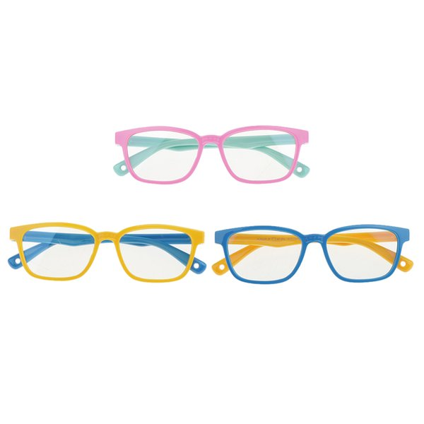 top popular 3Pcs Silicone Frame Computer TV Rectangle Eye Glasses For Boy Girl Gift 2021