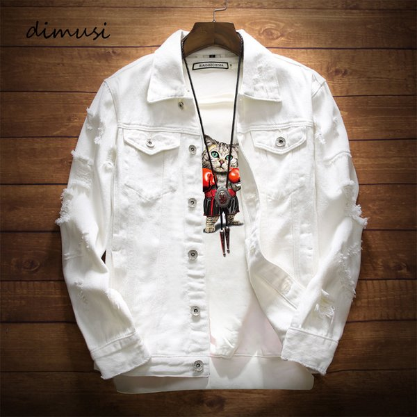 mens denim jacket trendy fashion hip hop streetwer ripped denim jacket mens jeans jacket male cowboy coats 3xl