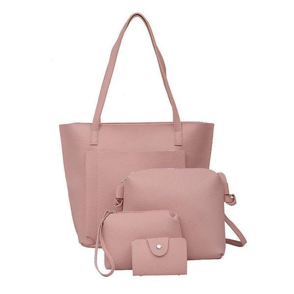 good quality 4 Pcs/set Handbag Shoulder Crossbody Bags For Women Four Pieces Large Capacity Tote Bag Lady Leather Messenger Bag Clutch