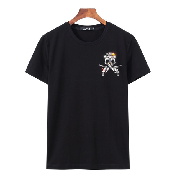 mens designer t shirts t shirt clothes white tshirts 5xl chest hot drilling tide flash diamond women couple shirt large size loose T-shirt