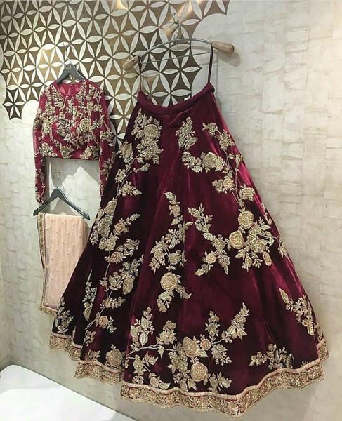 Luxuriöse Spitze Zwei Stücke 2018 Indien Abendkleider Burgund Lange Ärmel Prom Kleider Sexy Pageant Formale Party Kleider