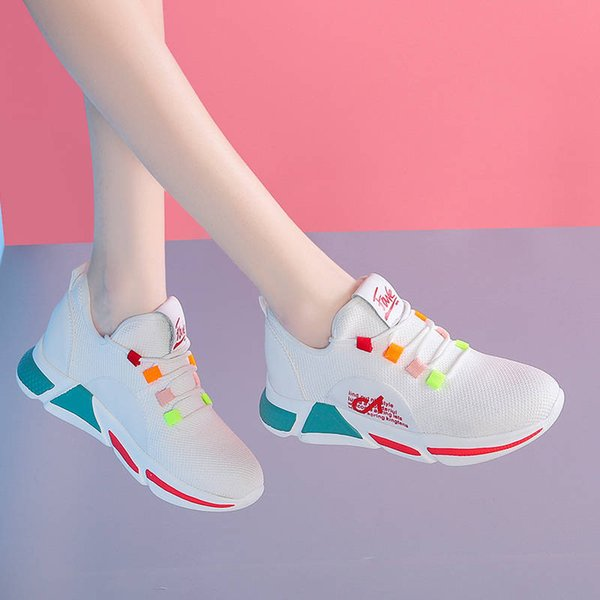2019 spring-summer breathable korean-style versatile casual rubber shoes sneakers student flat women shoes white women's, Black