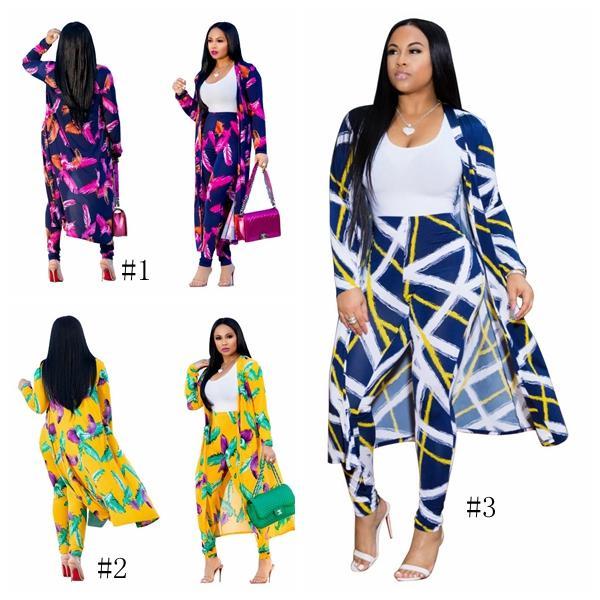 Frauen Blumendruck Cape Fashion Blumendruck Zwei 2 Stück Set Mäntel + Lange Hosen Bodycon Anzug Freizeitkleidung Mutterschaft Oberbekleidung GGA2055