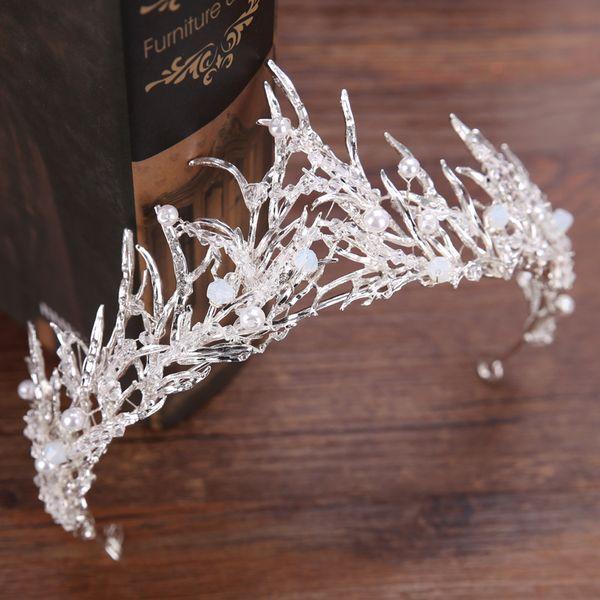 Nupcial Coroa antigo ouro Strass Cristais Coroas De Casamento de Cristal Acessórios Para o Cabelo Partido Tiaras Barroco chique Doce 15