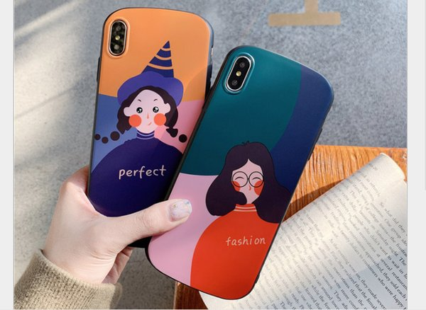 Cartoon Comics Print Soft Slim Silicone Hard Back Cover, Cute Shockproof Shock Absorption Drop Resistant Protective Case for iPhone XS