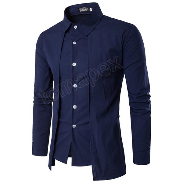 New Arrival Autumn Men Shirt 2019 Unique Design Fake two pieces Stylish Mens Dress Shirt Long Sleeve Casual Slim Fit Male Shirts