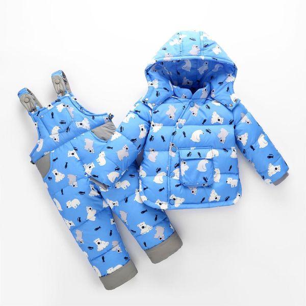 Erkek Kız Bebek Giyim Bebek Kış Mont Ceket Ördek Dış Giyim Için 2018 Toddler Kar Giyim 2 adet Setleri Karikatür Aşağı Kalın Snowsuit